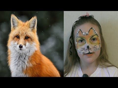 face painting fox for kids. Мастер класс аквагрим